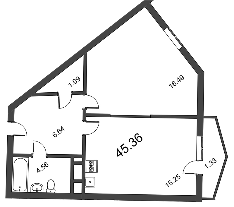 Планировка Двухкомнатная квартира (Евро) площадью 45.36 кв.м в ЖК «Босфор»