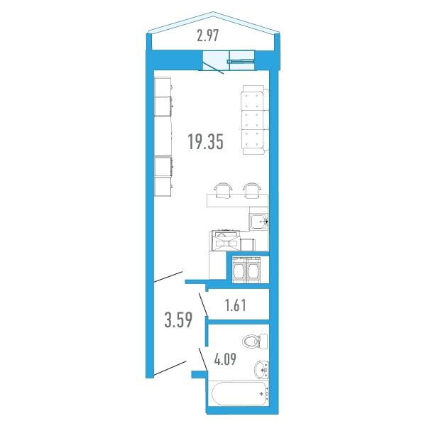Планировка Студия площадью 29.86 кв.м в ЖК «