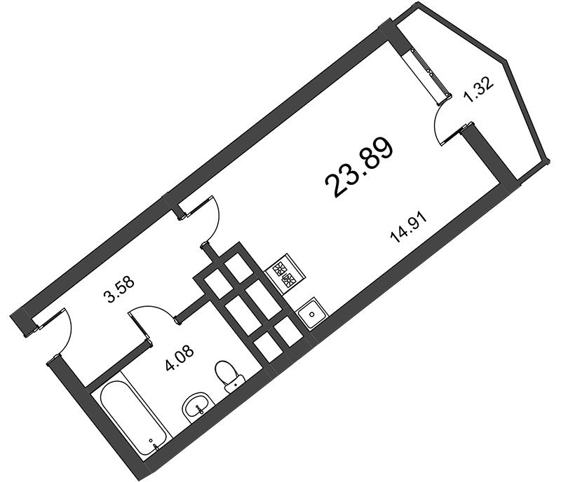 Планировка Студия площадью 24.1 кв.м в ЖК «Босфор»
