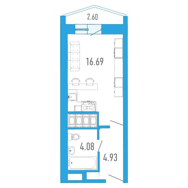 Планировка Студия площадью 26.4 кв.м в ЖК «