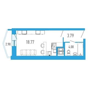 Планировка Студия площадью 27.81 кв.м в ЖК «