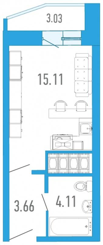 Планировка Студия площадью 23.98 кв.м в ЖК «Босфор»
