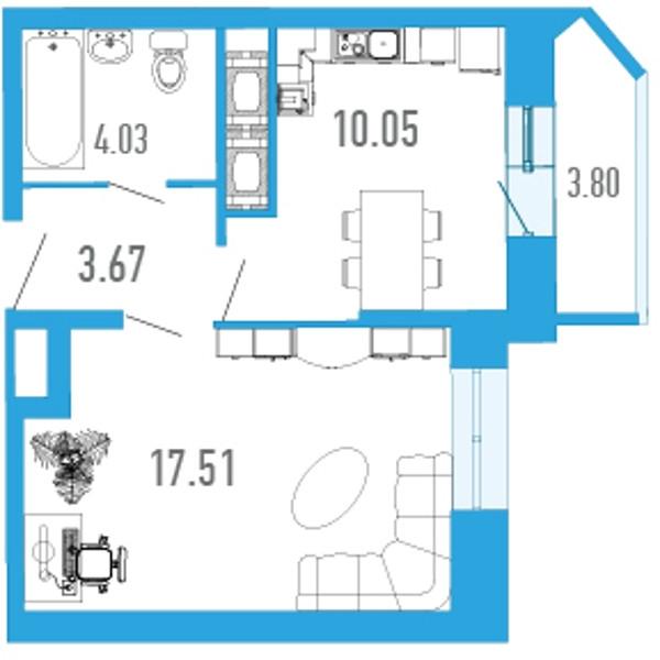 Планировка Однокомнатная квартира площадью 38.93 кв.м в ЖК «Босфор»