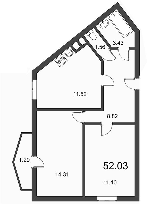 Планировка Двухкомнатная квартира площадью 52.03 кв.м в ЖК «Босфор»