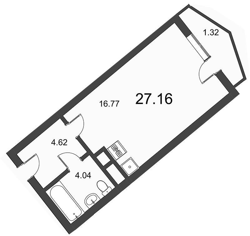 Планировка Студия площадью 26.9 кв.м в ЖК «Босфор»