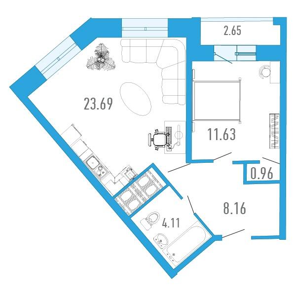 Планировка Однокомнатная квартира площадью 49.5 кв.м в ЖК «
