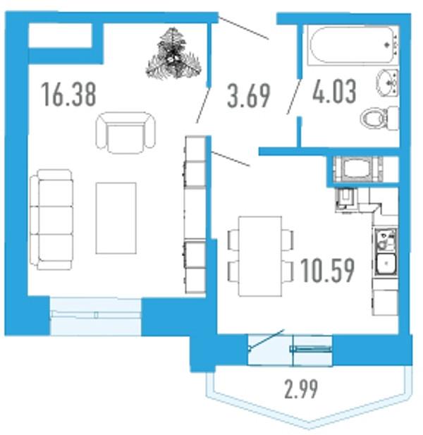 Планировка Однокомнатная квартира площадью 36.07 кв.м в ЖК «Босфор»