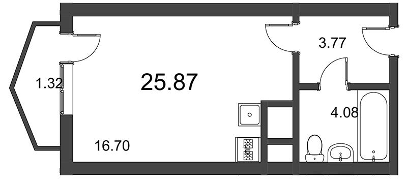 Планировка Студия площадью 25.87 кв.м в ЖК «Босфор»